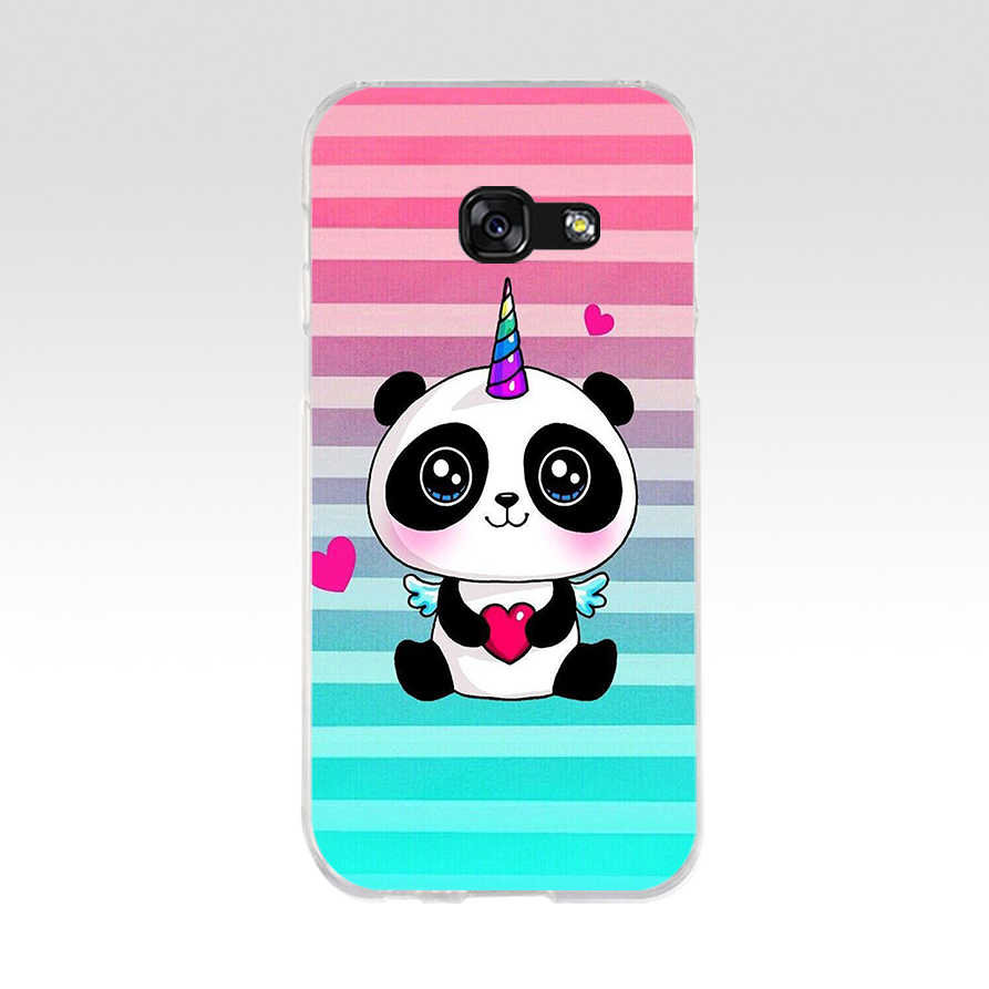 214we Panda Trop Mignon Dessin Soft Silicone Tpu Cover Phone Case For Samsung A3 A5 2016 A3 A5 2017 A7 A8 2018 A50