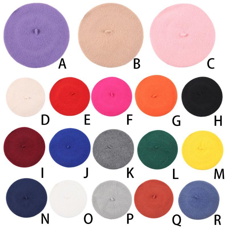 18 Farben Infant Baby Unisex Vintage Winter Herbst Nette Maler Baskenmütze Cap Solide Candy Farbe Woll Retro Künstler Flachen Hut 1-5 T GläNzend