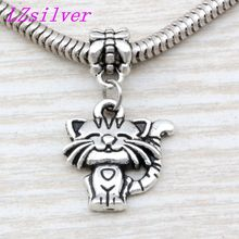 100pcs Ancient silver Single-sided cute cat Charm Big Hole Beads Fit European Bracelet Jewelry 17mm x 31mm A-110a