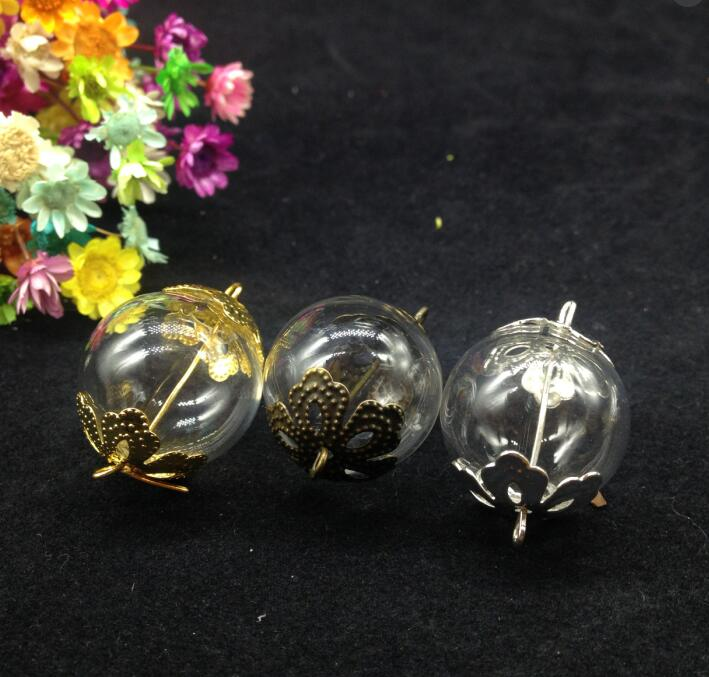 50sets 20mm Clear Double Hole Glass Globe Glass Vial Ball & two flower cap (gold/silver/antique bronze) diy necklace pendant