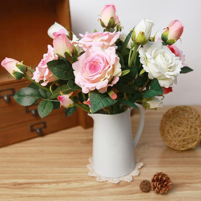 DIY 37cm υψηλή προσομοίωση 3 κεφάλι μακρύ μίσχο Βελούδινο τριαντάφυλλο τεχνητά λουλούδια υψηλής ποιότητας πλαστό ροδοκόκκινο λουλούδι μεταξιού