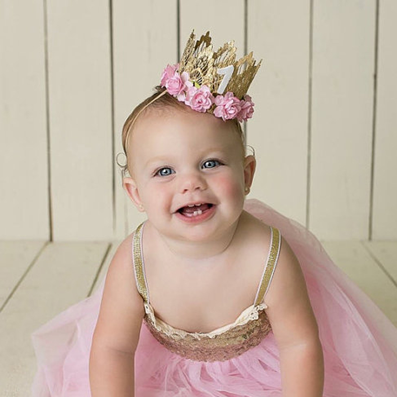1pc Pale Pink Birthday Flower Crown headband for Girl Party Headwear Boys Gold Lace Crown Number Headbands Bebe hair accessories ice cream cart toy