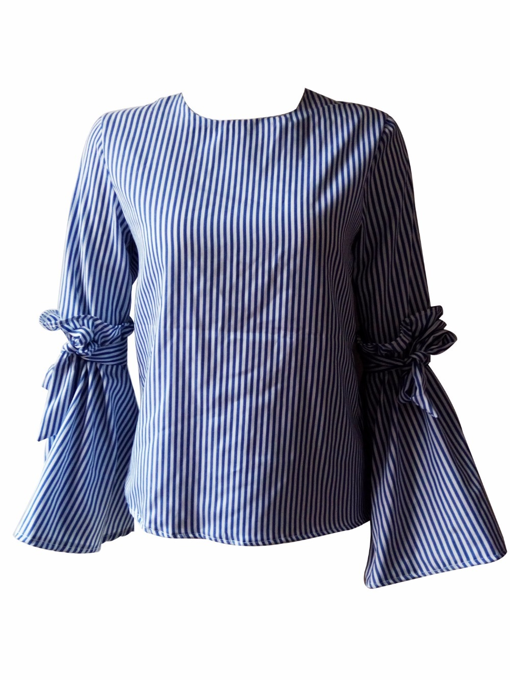 Las Woherb Mujeres 2019 Nuevas Blusa Corto Blusas 73816 Blanco Color Encaje Camisa Mangas Photo Slim Mujer América Rayas Azul Primavera Europa De pvzP8p