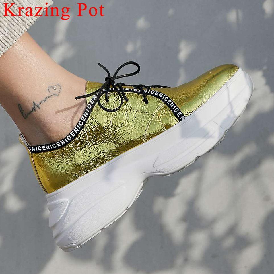 Rock Bleu Sneakers À Concise blanc Plate Vulcanisé Épais forme Style Véritable Respirant Bout Haute Fond L8f3 En Lacets or Cuir Filles Rond Chaussures N80wmn
