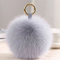 LEAYH 15cm Real Fox Fur Ball Pendant Keychains Women Ladies Solid Color Fluzzy Pompom Bag Hange Car Key Rings Accessories Gifts