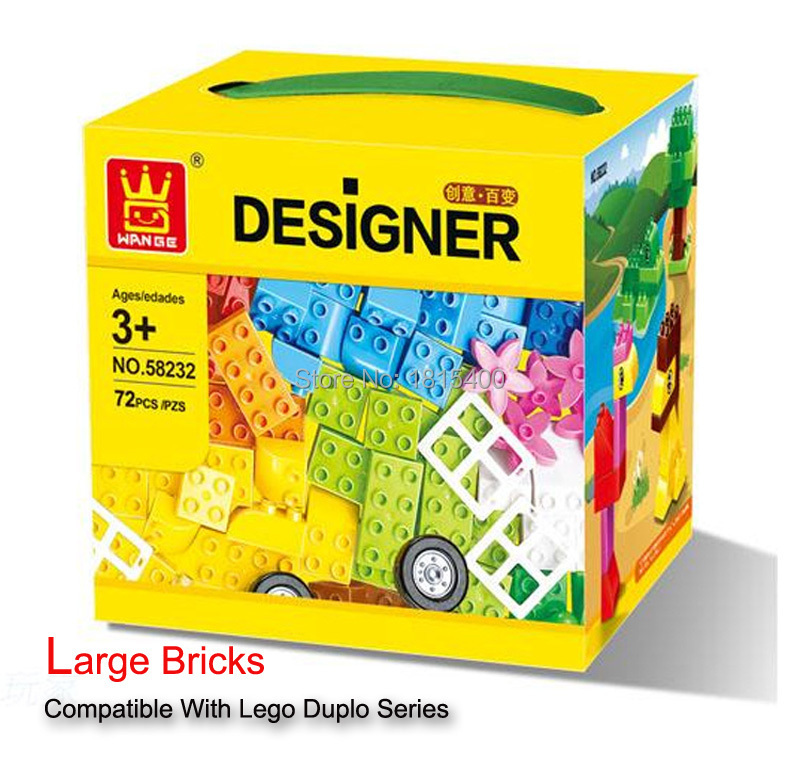 Children's Day Gifts Creative Plastic Building Toys Lego Compatible Blocks Large Bricks Educational Learning DIY Toys 72pcs/set classic toys lego compatible blocks plastic building bricks 2x4 diy model kids educational toys for boys