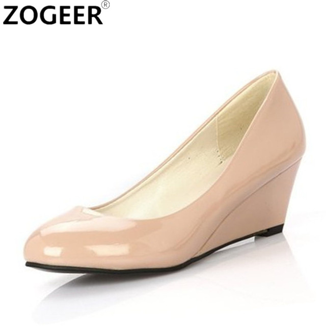 Hot 2017 Autumn Spring Wedges Women Shoes Pointed Medium Heels Pink Black White Office Shoe