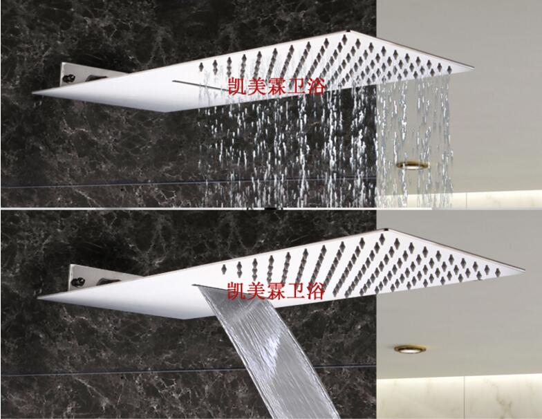 Luxury Dual Functions Waterfall Shower Head ultra thin Big Rainfall Shower Head Wall Mounted Waterfall Rain