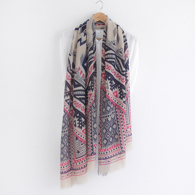 2016 Women Geometry Printed Scarf Fringe Quality Cotton Scarf Wholesale 4Colors 10pcs/lot
