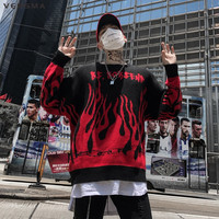 VERSMA 2018 High Street Hip Hop Flame Knitted Sweater Men Pullover Autumn Korean Harajuku BF Oversized Sweater Male Dropshipping
