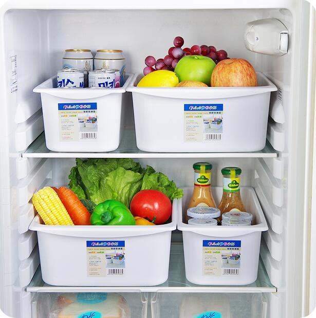 en soldes a8f85 f90b2 € 12.42 10% de réduction|Accessoires de cuisine blanc réfrigérateur boîte  de rangement des aliments grande boîte de tiroir en plastique-in Boîtes De  ...