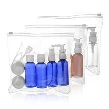7 шт./компл. 10 шт./компл. портативная, для путешествий, косметическая комплект бутылок персональный уход контейнер для макияжа бутылки самолетом спрей лосьон-крем с дозатором