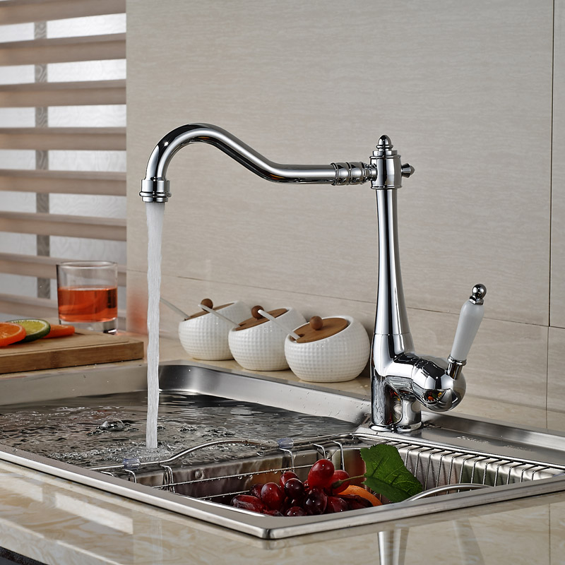 Best Quality Wholesale And Retail Chrome Solid Brass Kitchen Faucet Swivel Spout Vessel Sink Mixer Tap Single Handle/ Hole wholesale and retail luxury chrome brass 360 swivel spout kitchen faucet single handle hole vessel sink mixer tap