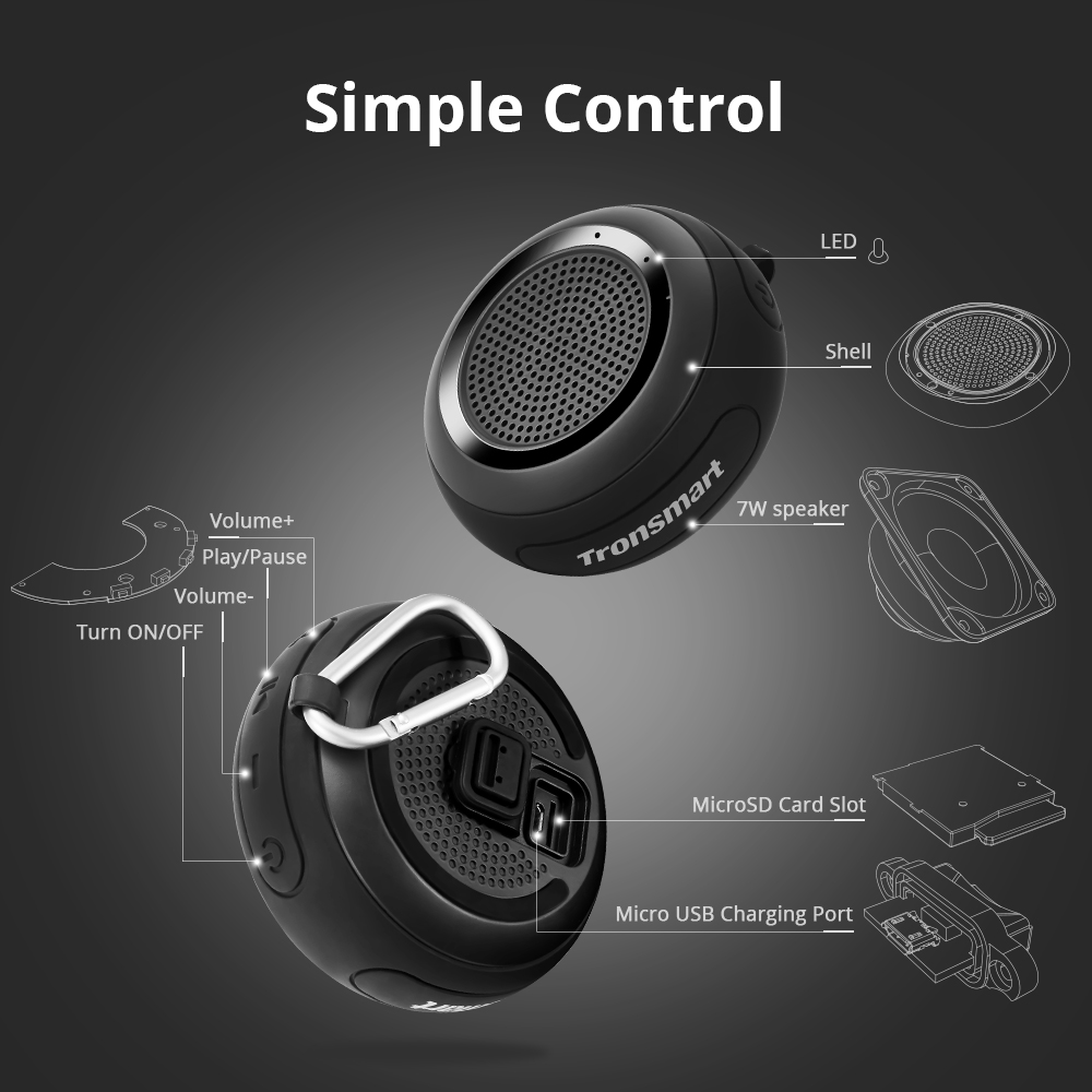 Tronsmart Element Splash IP67 Waterproof Bluetooth Speaker Soundbar Portable Speaker Computer Bluetooth 4.2 Wireless Speaker 22