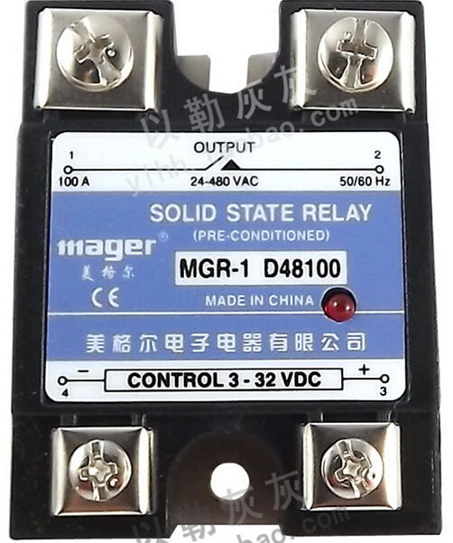 mager Solid state relay 100A MGR-1 D48100 DC control AC normally open single phase solid state relay ssr mgr 1 d48120 120a control dc ac 24 480v