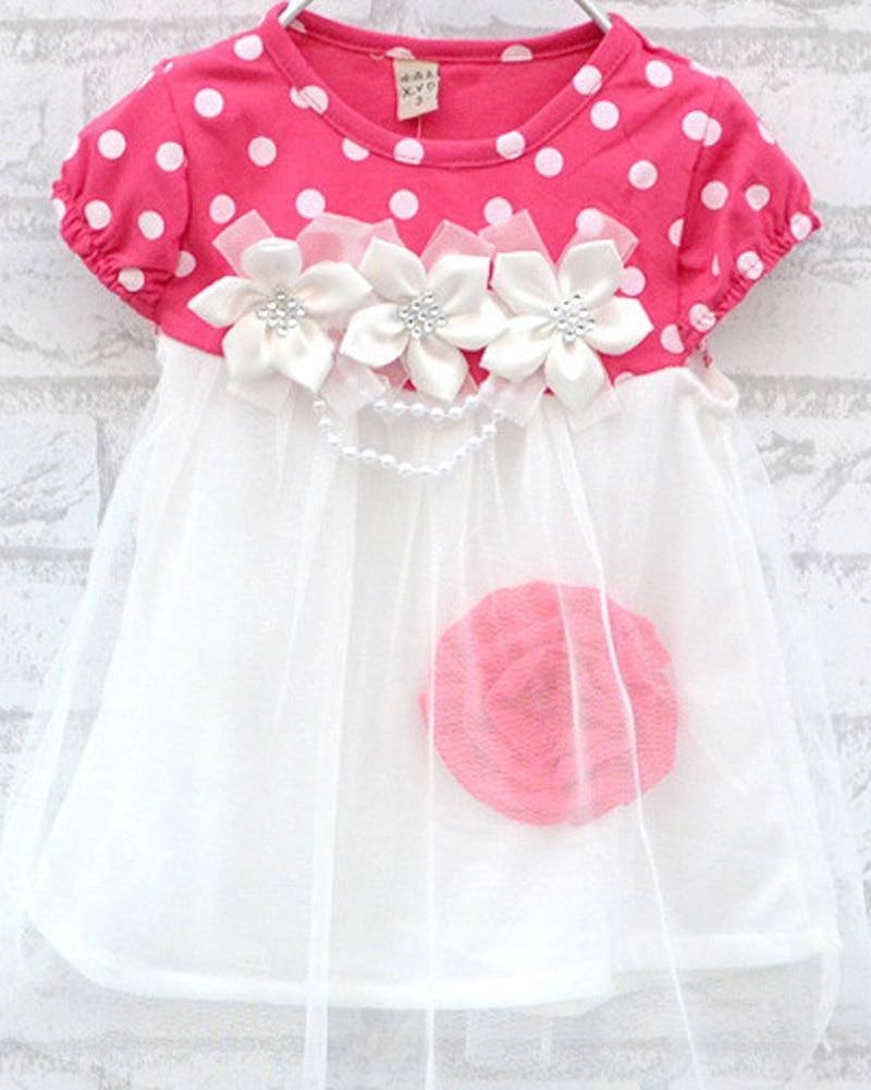 2017 High Quality 9-24M Girls Princess Polka Dot Floral Dress Summer Hot Sell Baby Girl Dress Kids Clothing