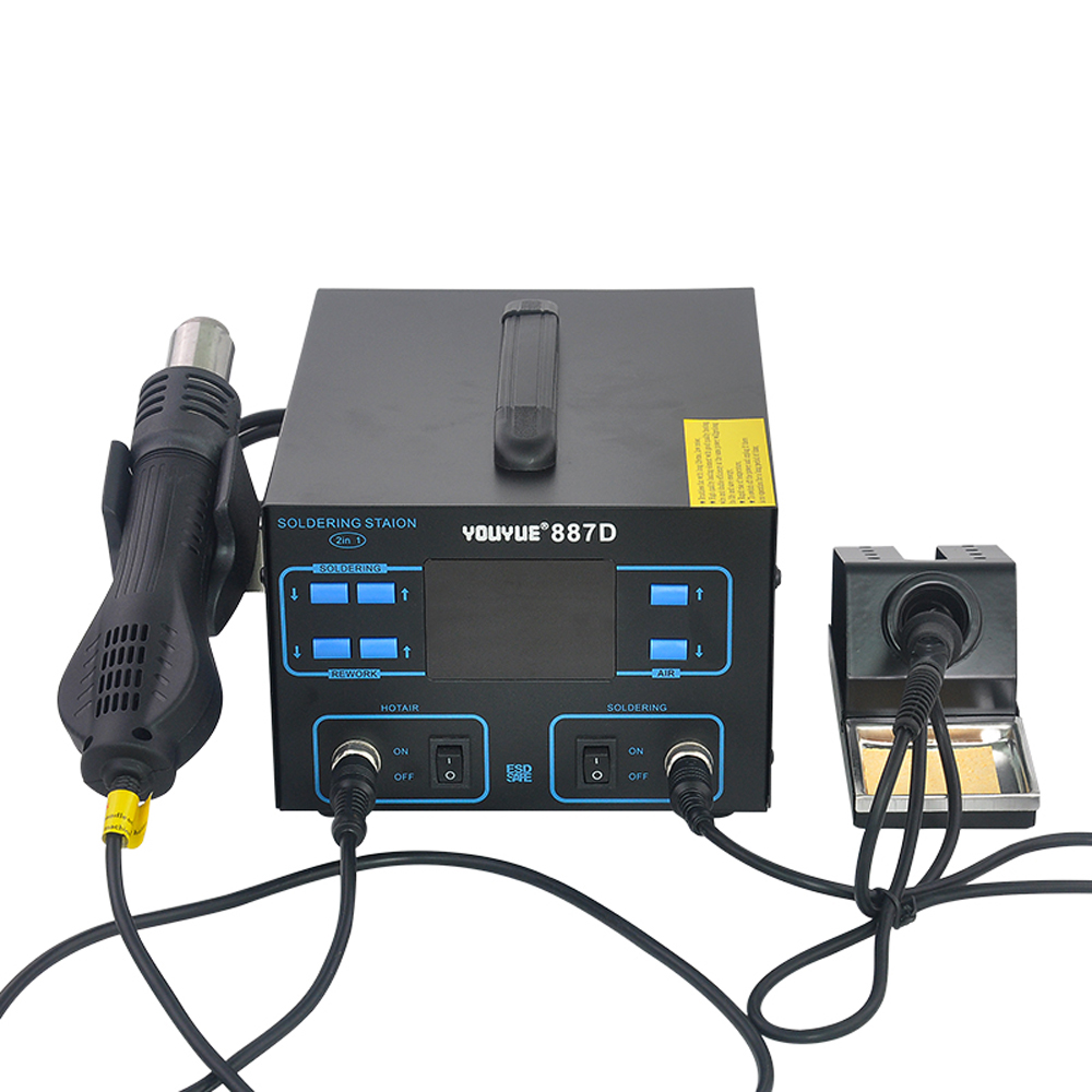 YOUYUE 887D Soldering Station Rework Station Thermoregulator Soldering Iron Hot Air Desoldering Gun Welding Tool KitYOUYUE 887D Soldering Station Rework Station Thermoregulator Soldering Iron Hot Air Desoldering Gun Welding Tool Kit