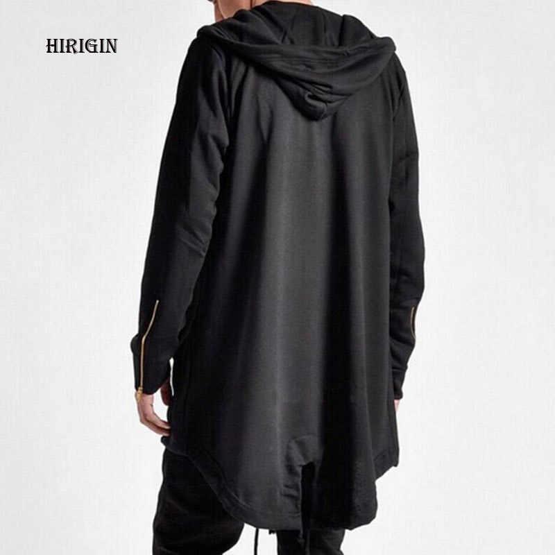 830b3ee8f616f HIRIGIN Fashion Gothic Clothing British Style Mens Wool Cloak Cape Long  Black Hooded Trench Coat Men