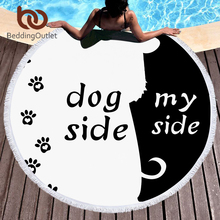 BeddingOutlet Microfiber Round Beach Towel for Adults Dog Side and My Side Large Summer Towel Toalla 150cm Cartoon Pet Yoga Mat