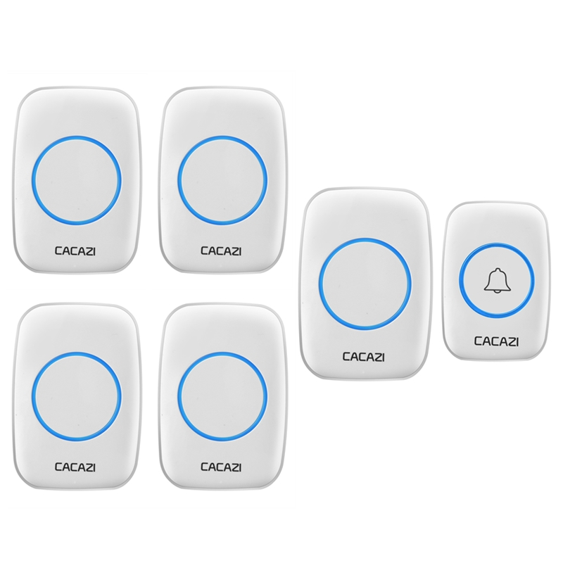 CACAZI LED 38 Chimes Home Waterproof Doorbell 100-240V EU/UK Plug Wireless Door Bell 1 Push Button+5 Doorbell Receivers cacazi ac 110 220v eu us uk plug wireless doorbell 1 waterproof button 3 receivers 300m remote door bell 38 chimes door ring