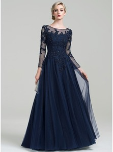 Image 2 - Scoop Neck A Line Floor Length Tulle Mother of the Bride Dress with Beading Sequins for Wedding Party Custom Made