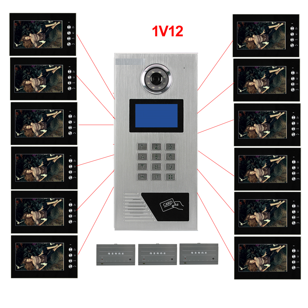 Top Quality 7 LCD Video Door Phone l IR Home Security Building Video Doorbell System For 12-Apartments In Stock