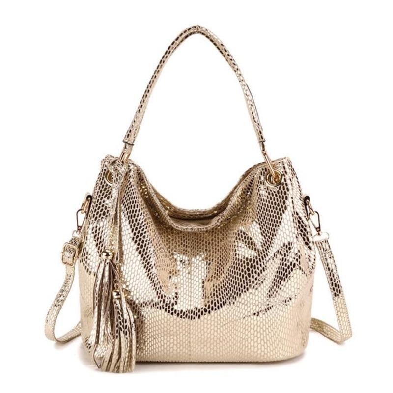 Women Hobos Tote Bags Luxury Serpentine Leather Handbags Ladies Tassel Crossbody Shoulder Bag For Women Famous Brand Bucket Bag