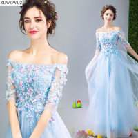 2017 New Arrival Stock Maternity Plus Size Bridal Gown Evening Dress Long Blue Half Sleeve Gala