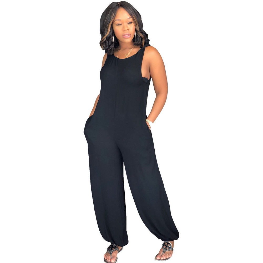 OKAYOASIS Free Shipping Women  Backless Loose Sexy Summer Jumpsuits Play Suits With Pockets