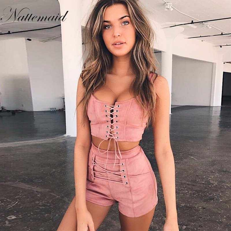 NATTEMAID  Women Jumpsuits Two Piece Sleeveless Club Rompers Bandage Hollow Out Sexy Short  Bodysuit Summer Elegant Overalls
