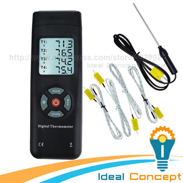 4 Channel Digital Thermocouples K-Type Thermometer with Backlight K-Type Metal & Bead Probe Temperature Instrument