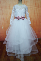 Satin Sash Flower Girl Dresses Lace Three Quarter Sleeve Girl Birthday Party Christmas Communion Dresses Girls