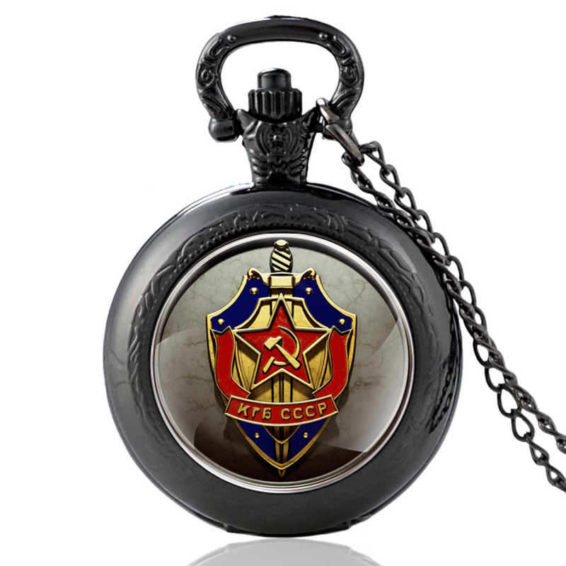 Vintage Black Soviet Republics Army Quartz Pocket Watch Retro Men Women Pendant Necklace Watches