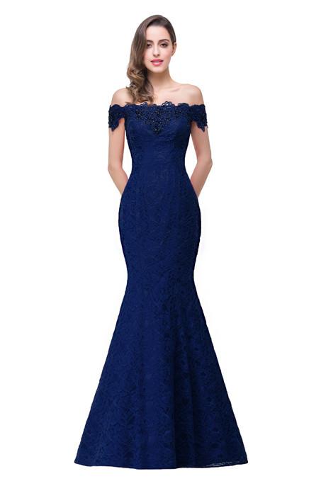 Royal Blue Purple Lavender Beaded Long Mermaid Lace Bridesmaid Dress