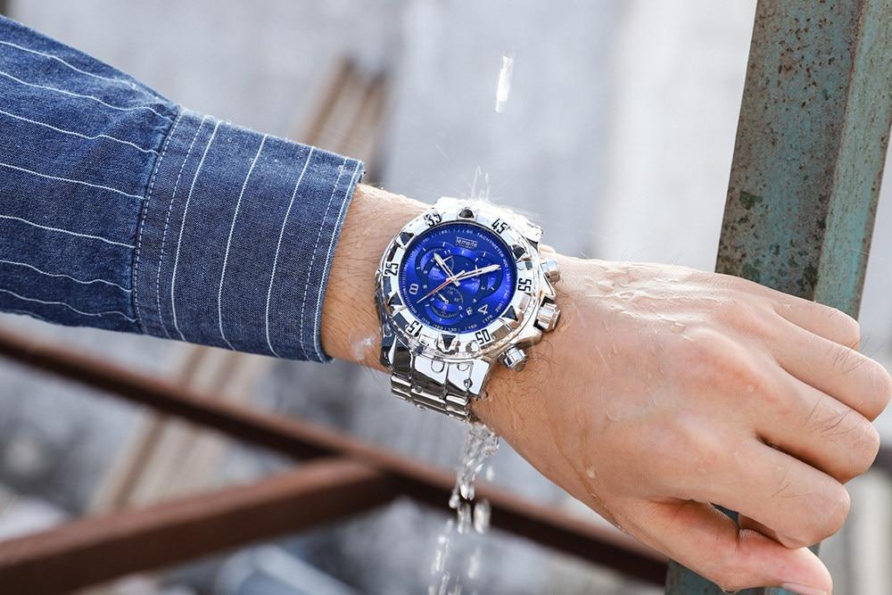 19 Top Brand Luxury Mens Oversize Watch Gold Business Steel Quartz Clock Waterproof Sport Military Chronograph Male Wristwatch 41