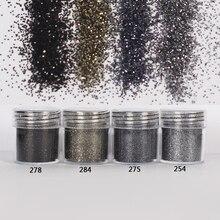 1 kavanoz/kutu 10ml tırnak moda 4 Mix duman siyah tırnak Glitter güzel tırnak tozu sanat dekorasyon isteğe bağlı 300 renkler fabrika 4 16