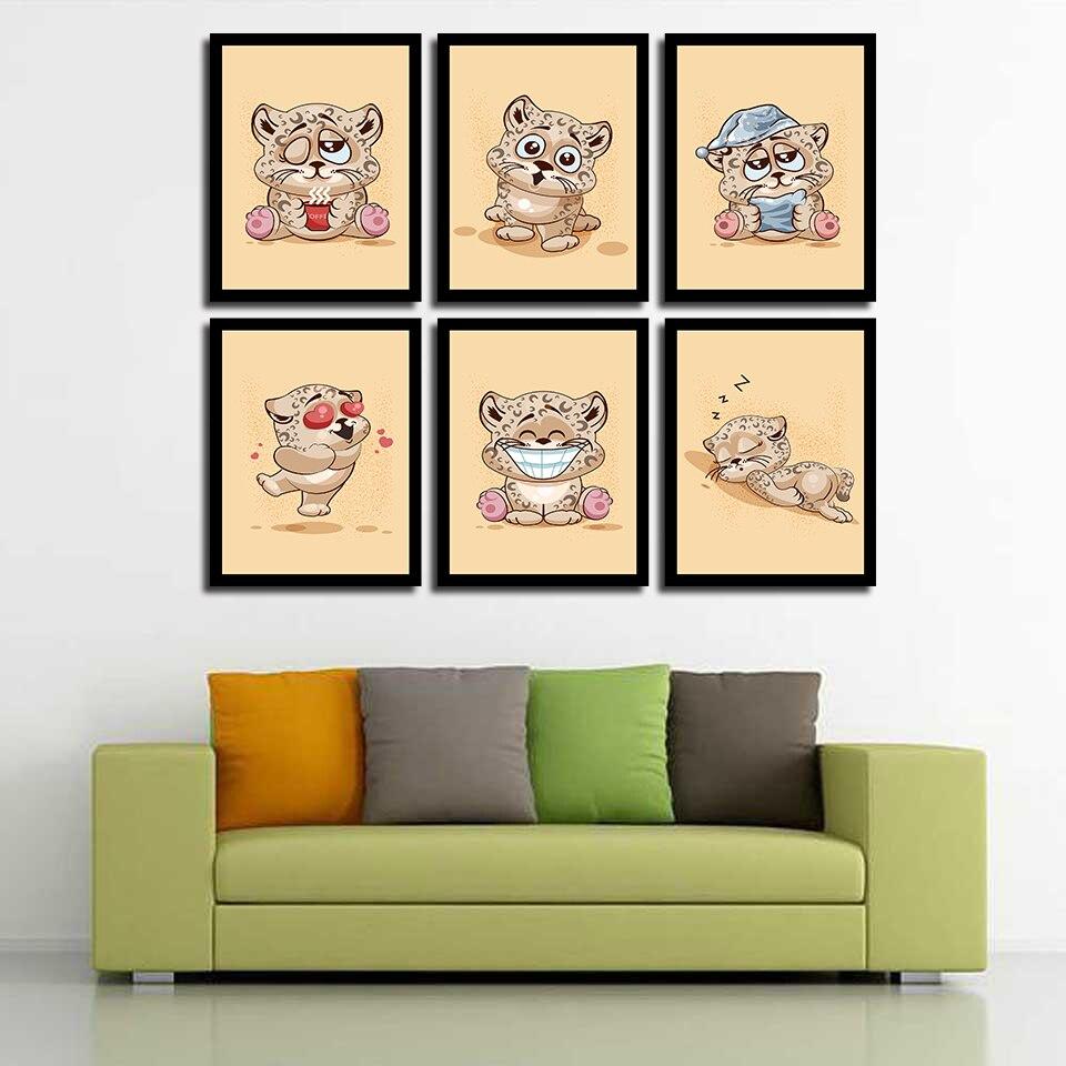 Lona De Reflexão Tigre Gato Engraçado pôster motivacional Arte Impressão Decoração Moderna