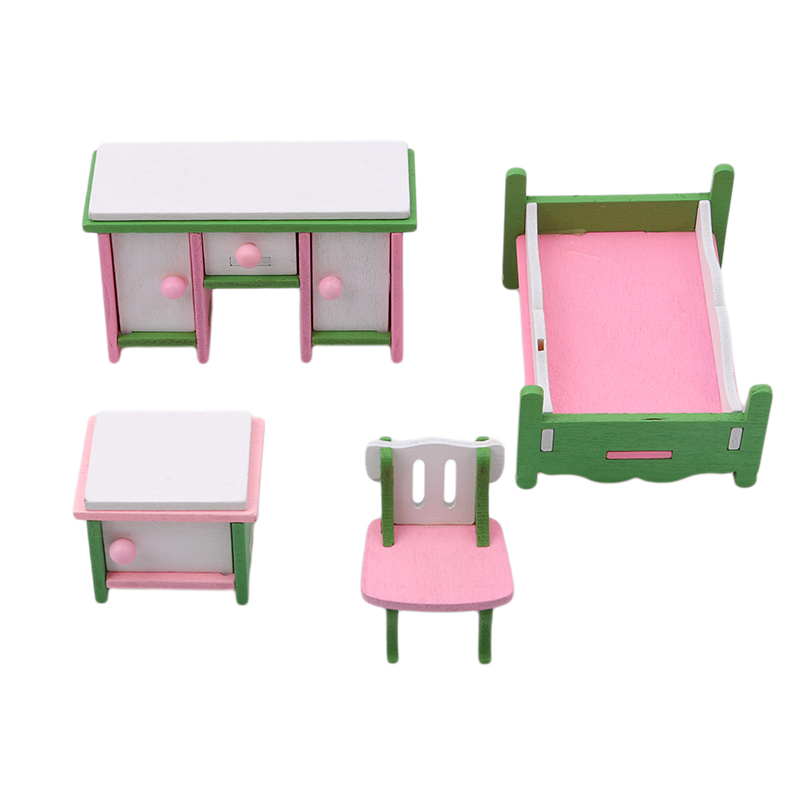 Dollhouse Miniature Furniture Pink Plastic Cot Bed With Bed Net For Doll Classic Toy Dolls Accessories Gift For Kids Girl 100% Original Furniture Toys