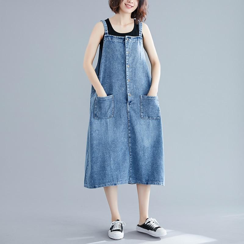 Vintage Denim Dress Summer Ladies Suspenders Jeans Dresses Female Casual Loose Button Pocket Cowboy Dresses Vestidos