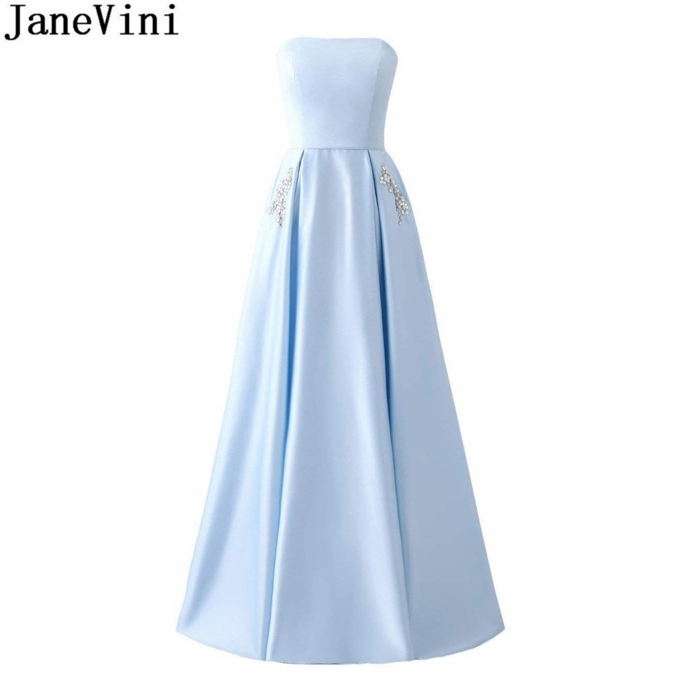 JaneVini Elegant Strapless Formal Prom Dresses With Pockets Crystal Satin A Line Long Bridesmaid Dresses Women Party Dress 2018