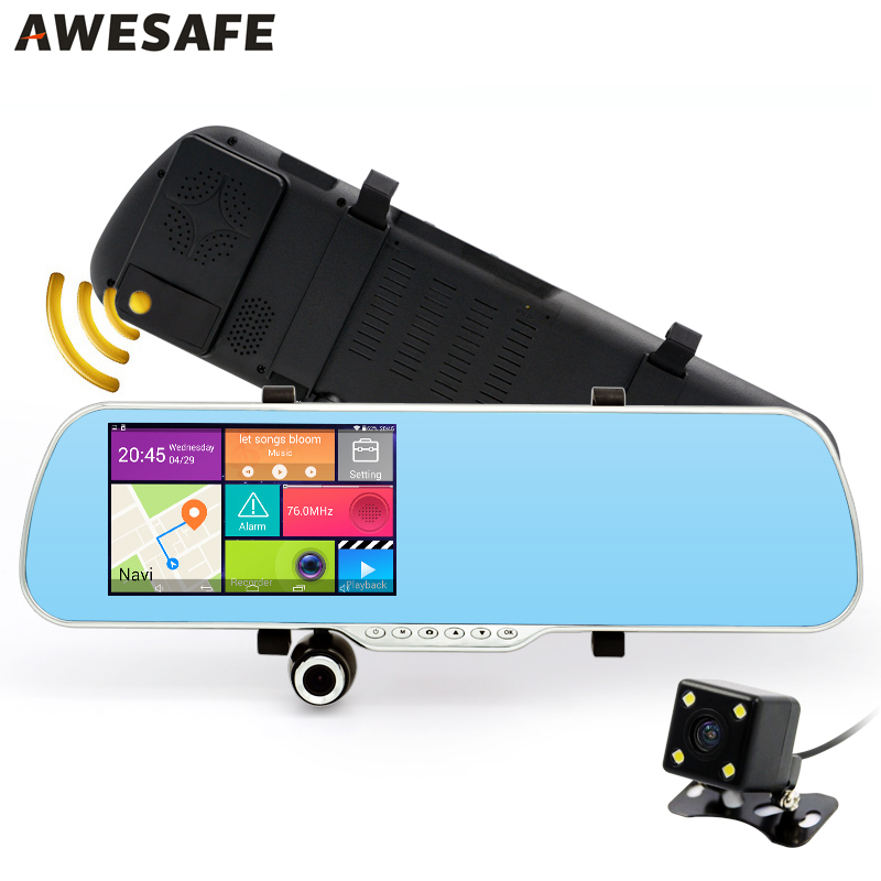"5"" IPS Android Rearview mirror 3 in 1 Car DVR Camera Video Recorder mirror with GPS Radar Detector FHD 1080P Camcorder Dash Cam"