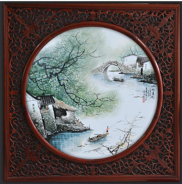 Master Hand Painted Water Spring Wall Hanging Painting Ceramic
