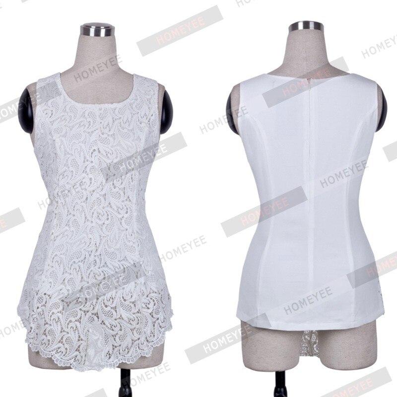 Black Mangas Blusa Peplum Camisa De Moda Top white Tops E670 La Evasé Equipada Cordón Encaje Sin Mujeres Tank Del Bordado v8UqBqS