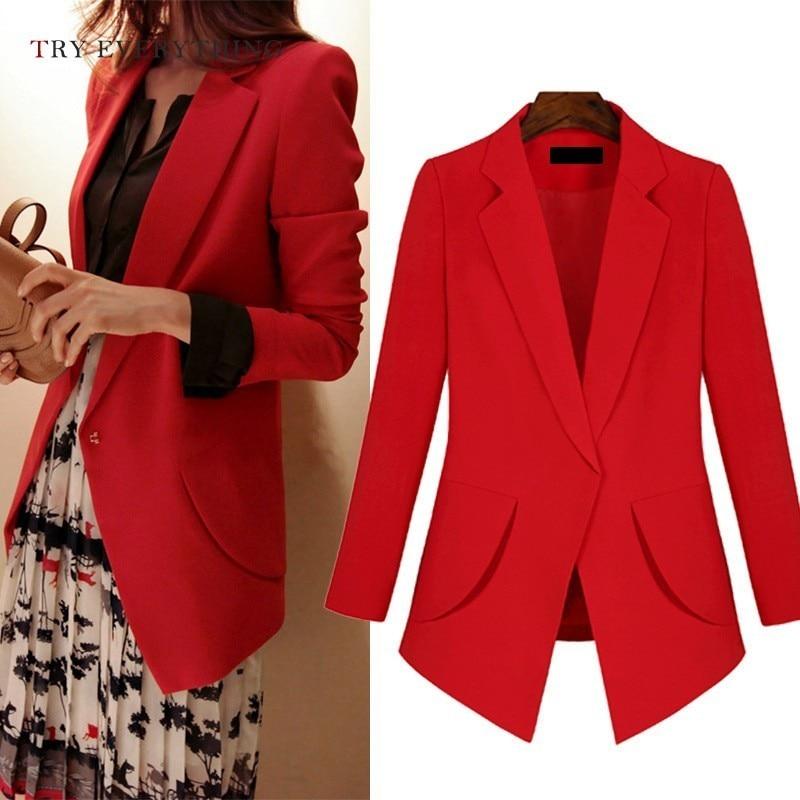 Red Blazer Women Long Black Women Blazers For Office Plus Size Blazer For Women Long Sleeve Ladies Jackets And Blazers 3XL 5XL