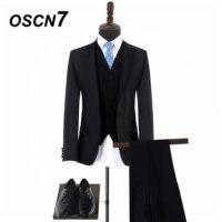 OSCN7 высокого класса обычный черный широкий пик лацканы Индивидуальные костюмы Для мужчин Бизнес Повседневное 3 шт. брендовая одежда мужской