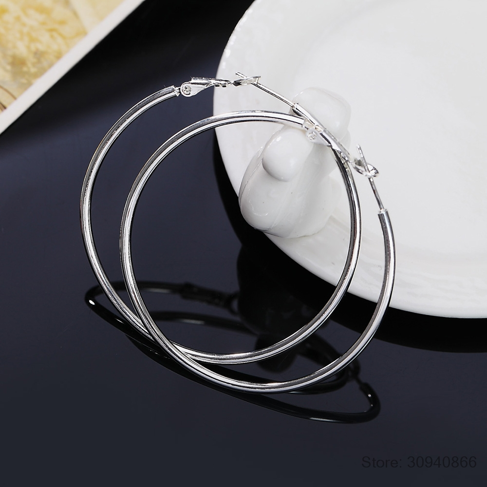 Personality Hyperbole 925 Sterling Silver Simple Smooth Circle Hoop Earrings For Women Sterling-Silver-Jewelry Pendientes