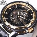 SEWOR Royal Diamond Design Black Gold Mens Watches Top Brand Luxury Male Skeleton Mechanical Hand Wind Watch Fashion Wrist Watch