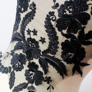 Image 3 - Misaya 1 מחשב תחרה בד שחור Lvory לבן כותנה רקום Applique DIY חתונה high end שמלה אביזרים בעבודת יד
