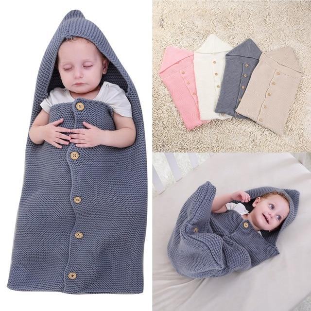 Puseky Baby Kid Weiche Knit Wrap Schlafsack Swaddle Mit Kapuze
