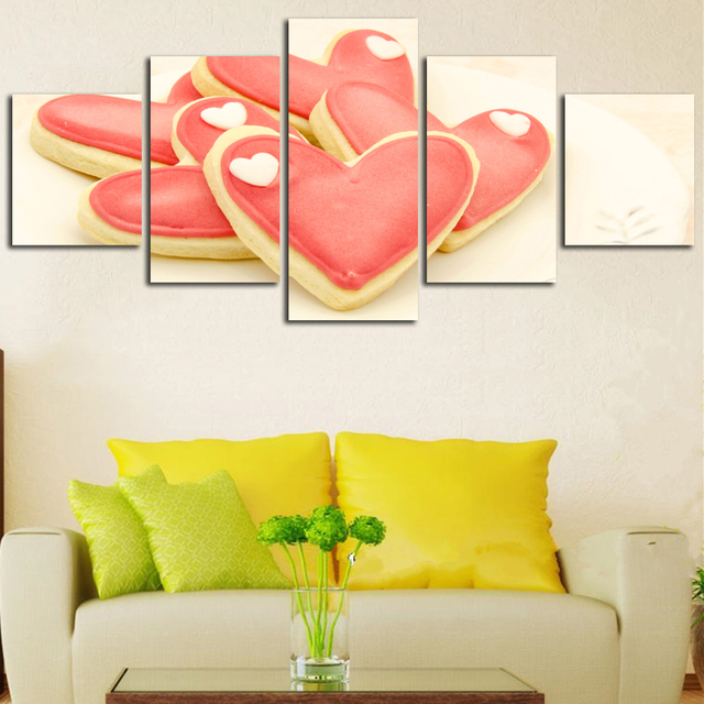 Heart Shaped Pastry Pink Cake Modern Canvas Wall Art Home Decor For ...
